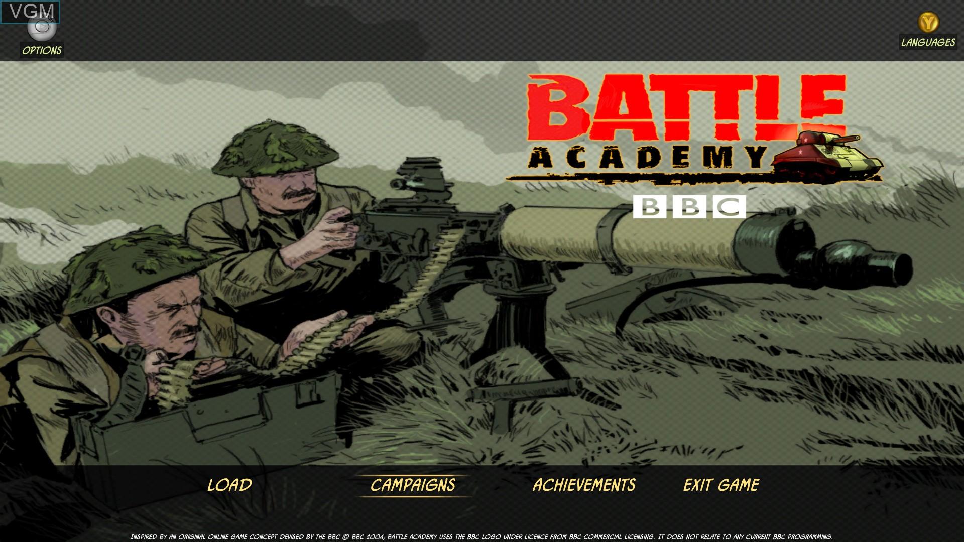 Image de l'ecran titre du jeu Battle Academy sur Microsoft Xbox 360