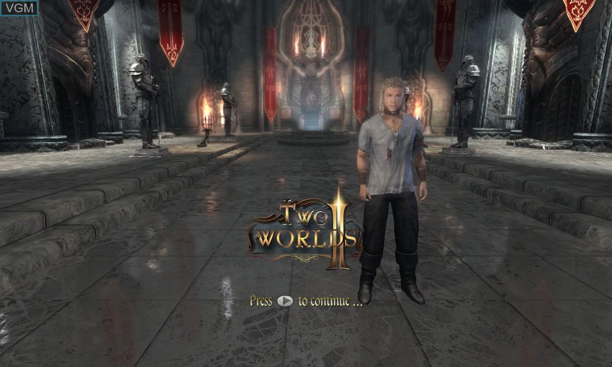 Image de l'ecran titre du jeu Two Worlds II sur Microsoft Xbox 360