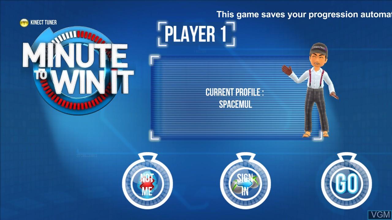 Image de l'ecran titre du jeu Minute to Win It sur Microsoft Xbox 360