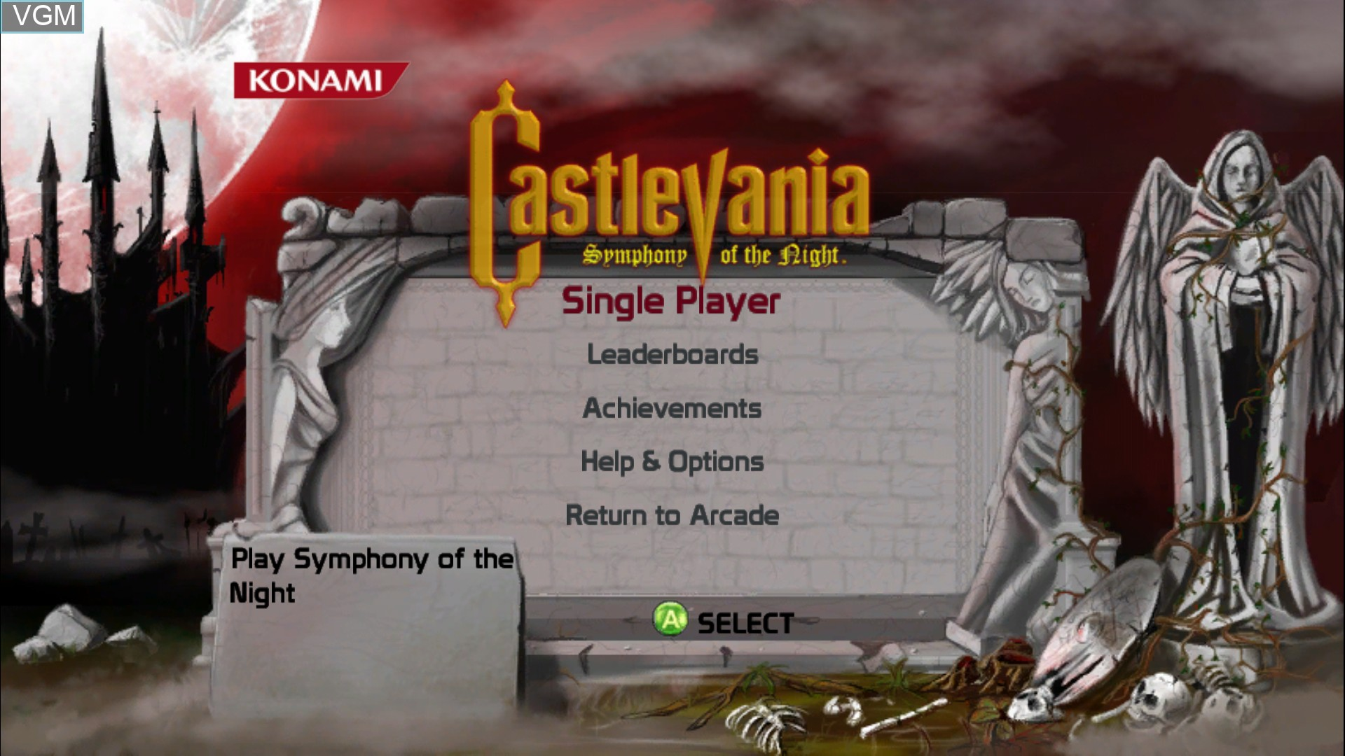 Image de l'ecran titre du jeu Castlevania - Symphony of the Night sur Microsoft Xbox 360
