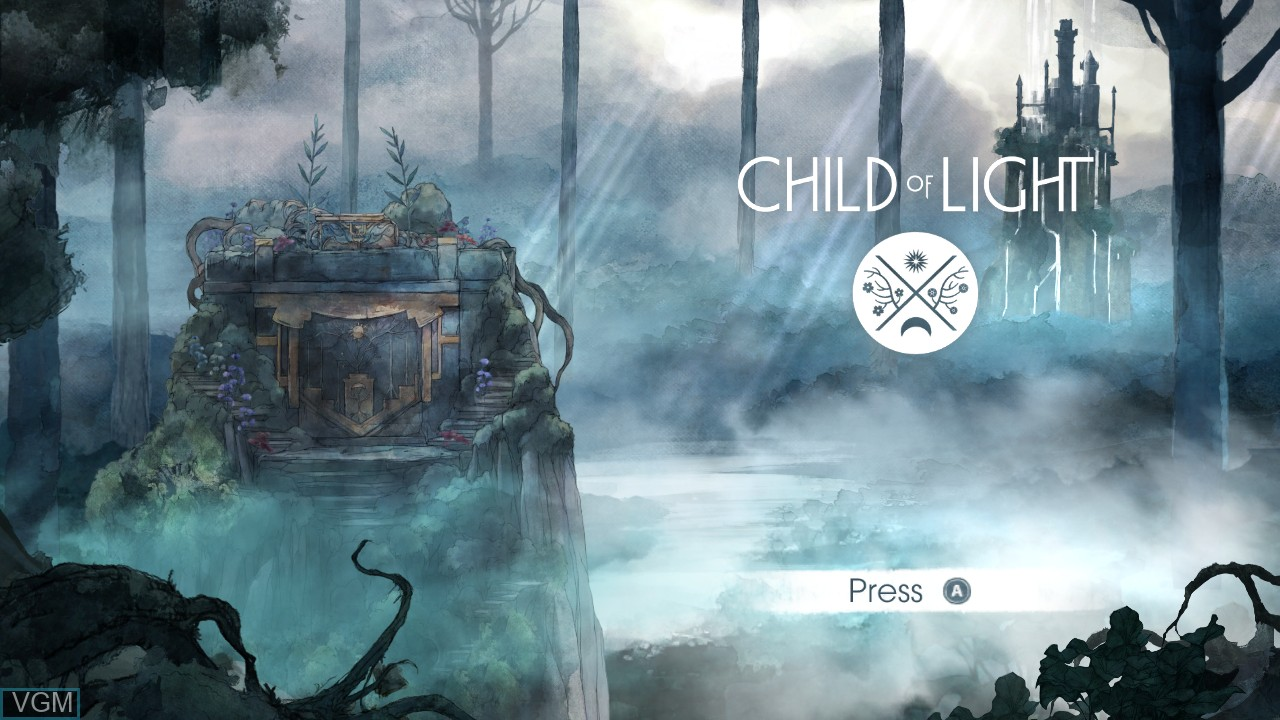 Image de l'ecran titre du jeu Child of Light sur Microsoft Xbox 360