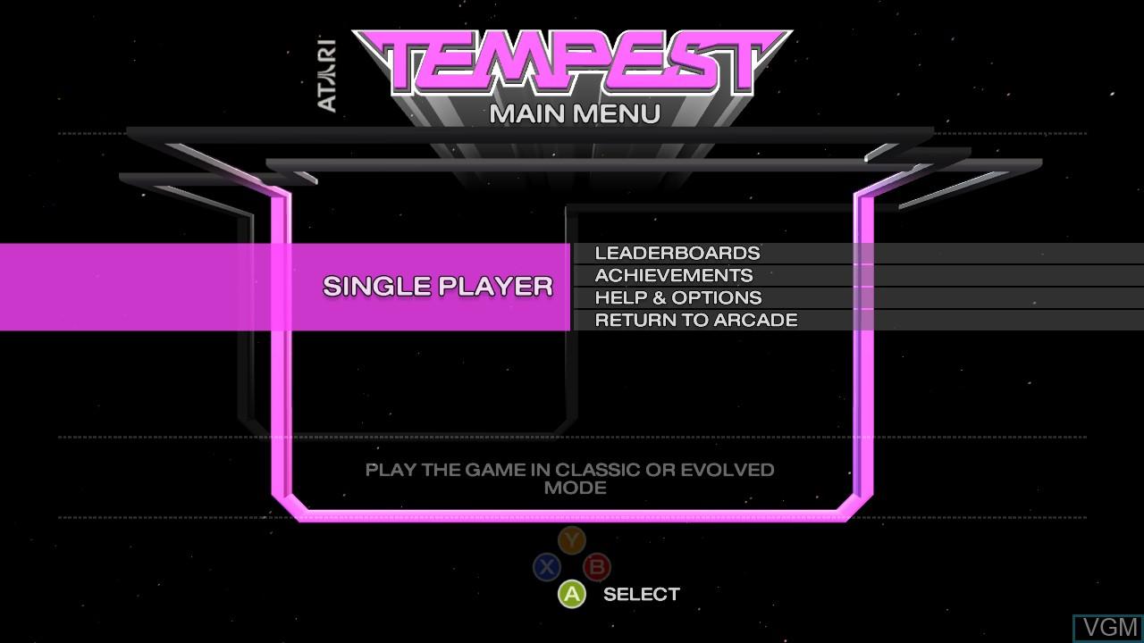 Image de l'ecran titre du jeu Tempest sur Microsoft Xbox 360