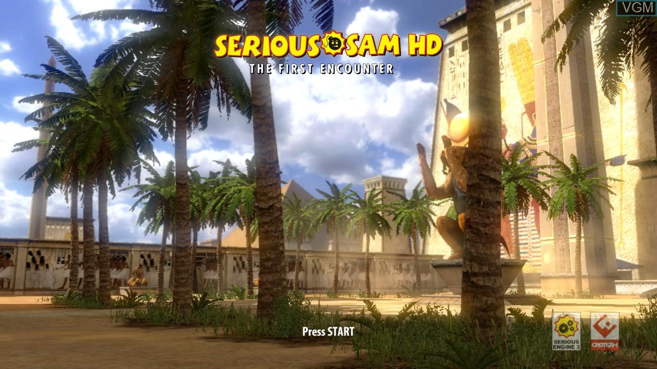 Image de l'ecran titre du jeu Serious Sam HD - The First Encounter sur Microsoft Xbox 360