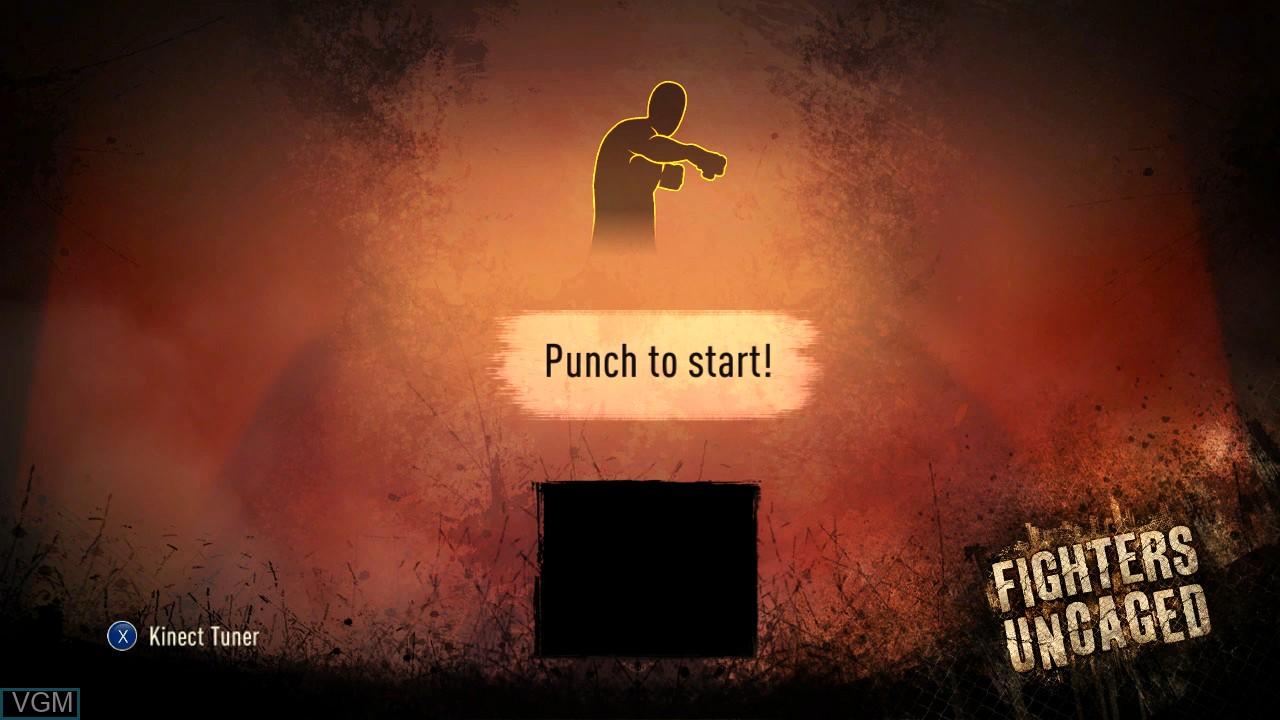 Image de l'ecran titre du jeu Fighters Uncaged sur Microsoft Xbox 360