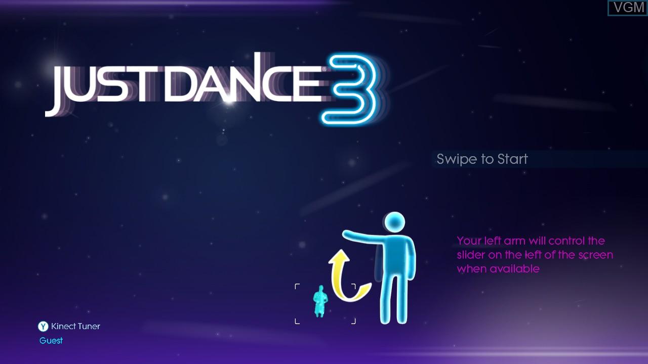 Image de l'ecran titre du jeu Just Dance 3 sur Microsoft Xbox 360