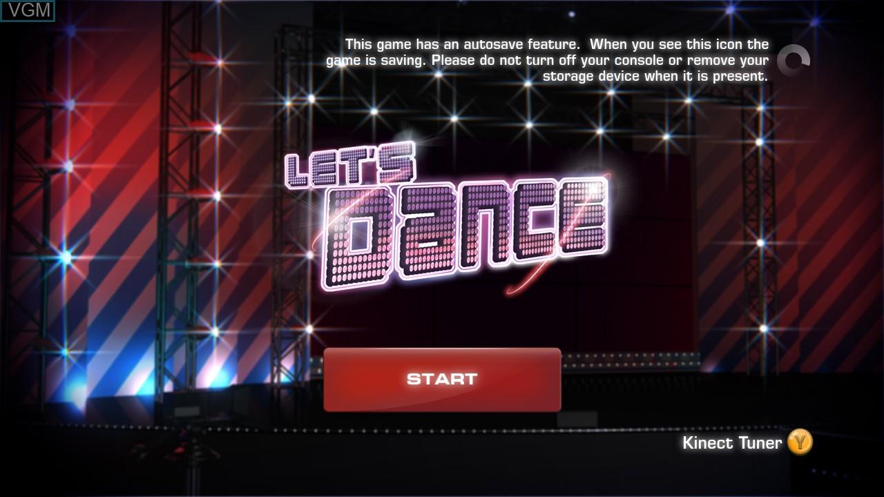 Image de l'ecran titre du jeu Let's Dance sur Microsoft Xbox 360