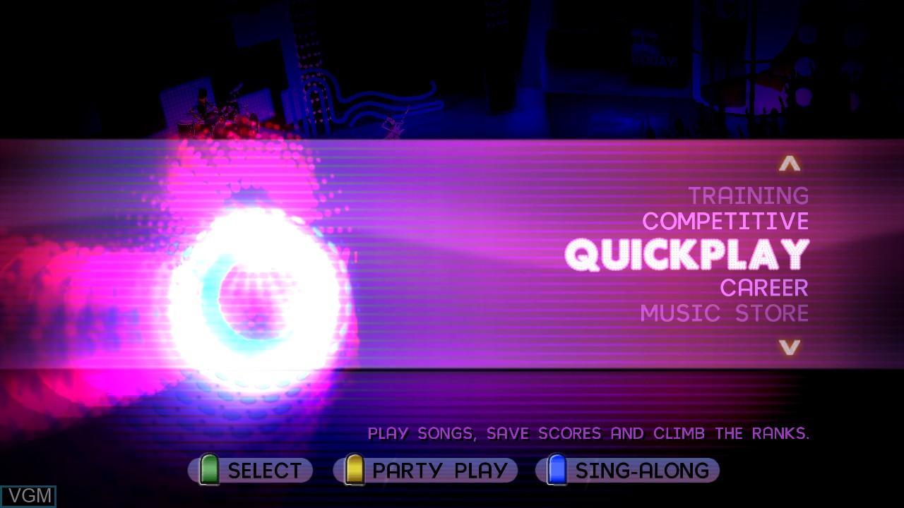 Image du menu du jeu Band Hero sur Microsoft Xbox 360