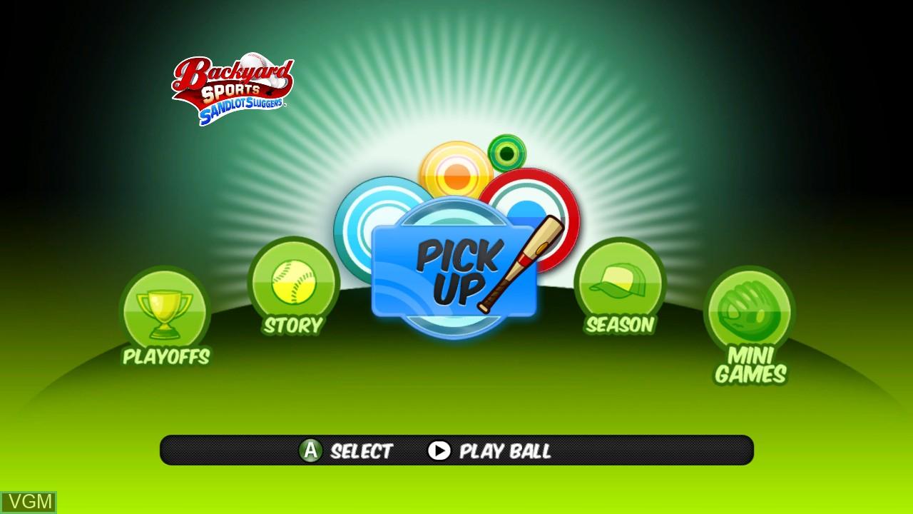 Image du menu du jeu Backyard Sports - Sandlot Sluggers sur Microsoft Xbox 360