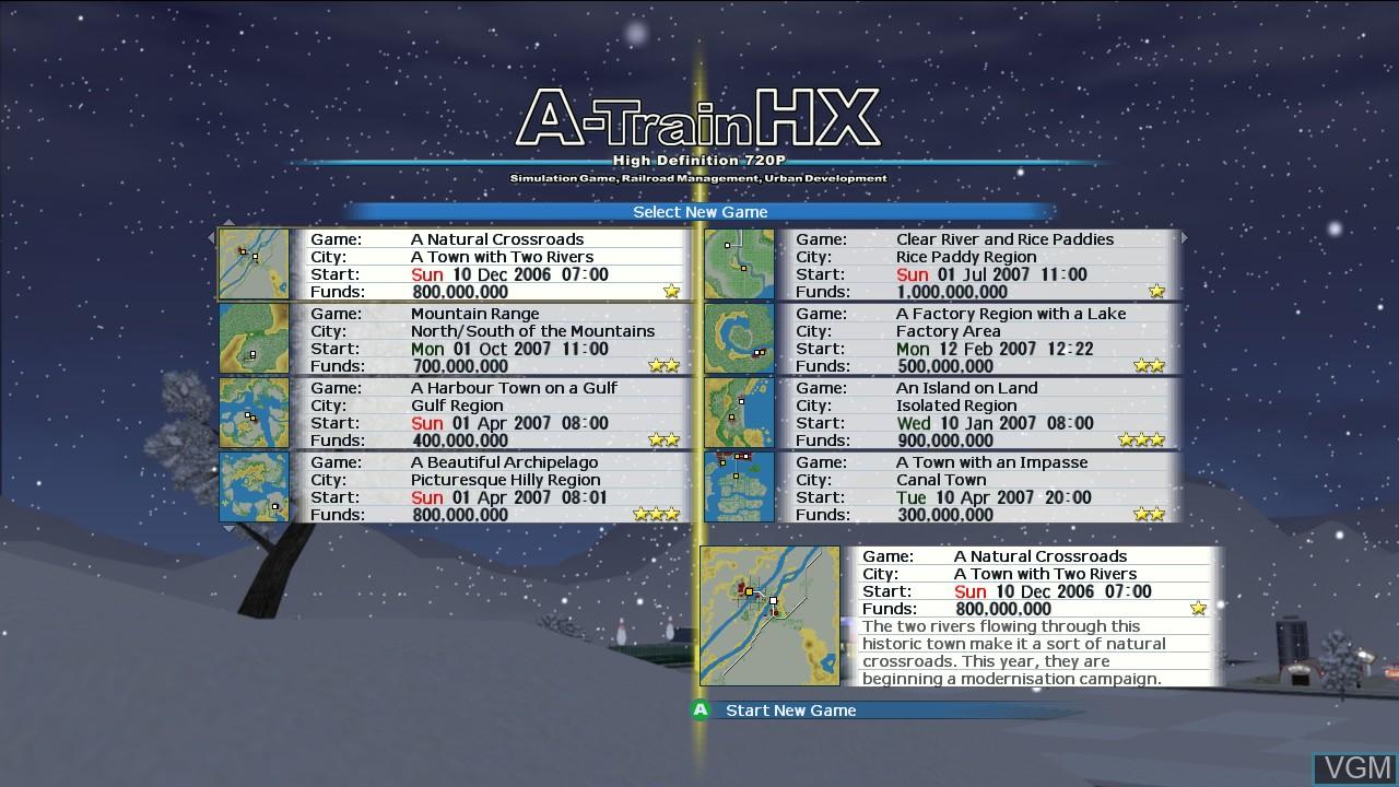 Image du menu du jeu A-Train HX sur Microsoft Xbox 360