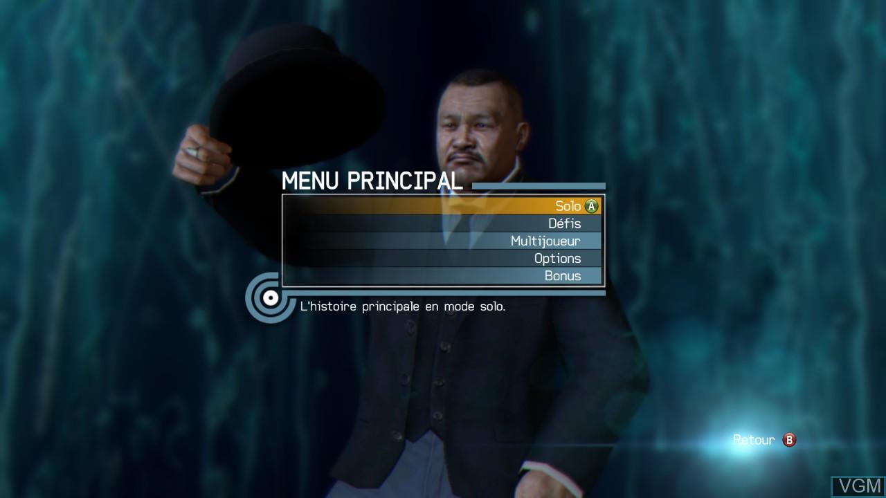 Image du menu du jeu 007 Legends sur Microsoft Xbox 360
