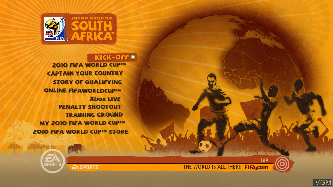 Image du menu du jeu 2010 FIFA World Cup South Africa sur Microsoft Xbox 360