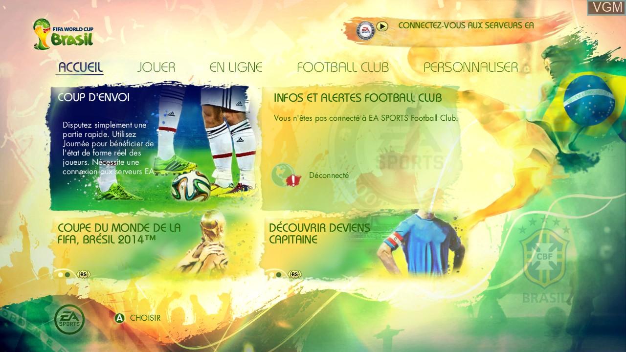 Image du menu du jeu 2014 FIFA World Cup Brazil sur Microsoft Xbox 360