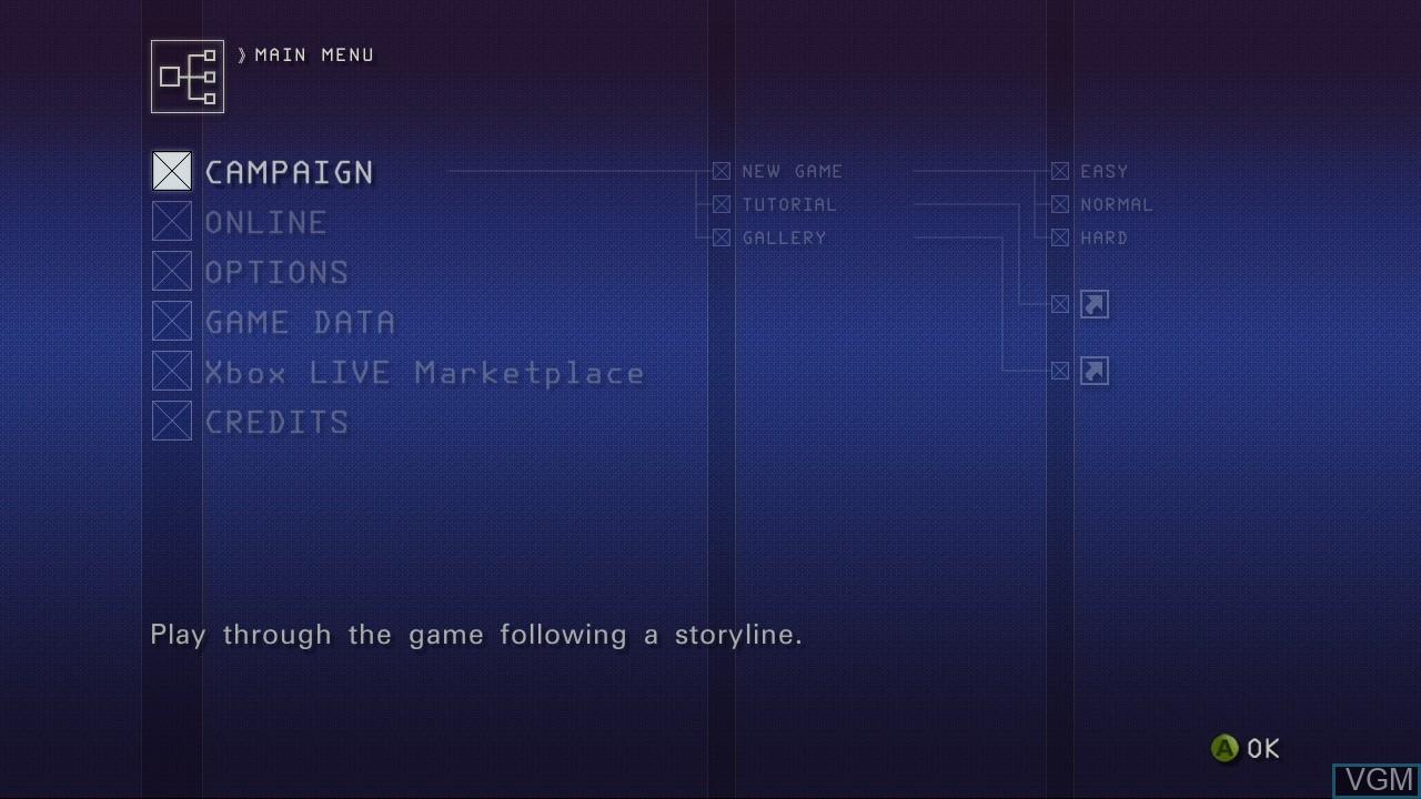 Image du menu du jeu Ace Combat 6 - Fires of Liberation sur Microsoft Xbox 360