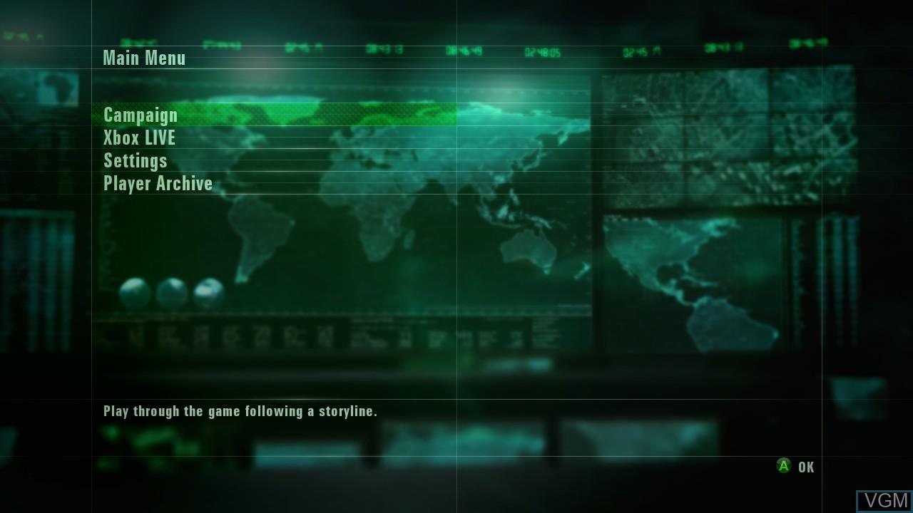 Image du menu du jeu Ace Combat - Assault Horizon sur Microsoft Xbox 360