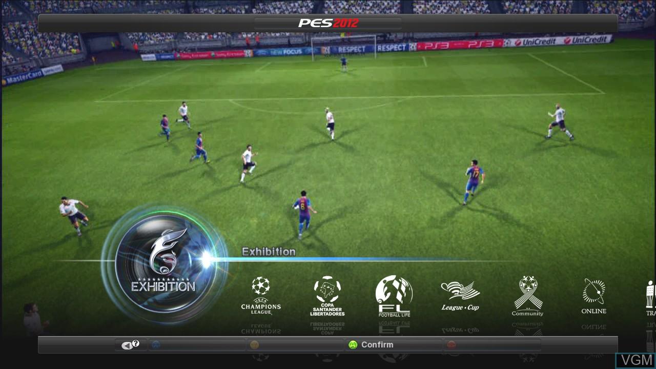 Image du menu du jeu Pro Evolution Soccer 2012 sur Microsoft Xbox 360