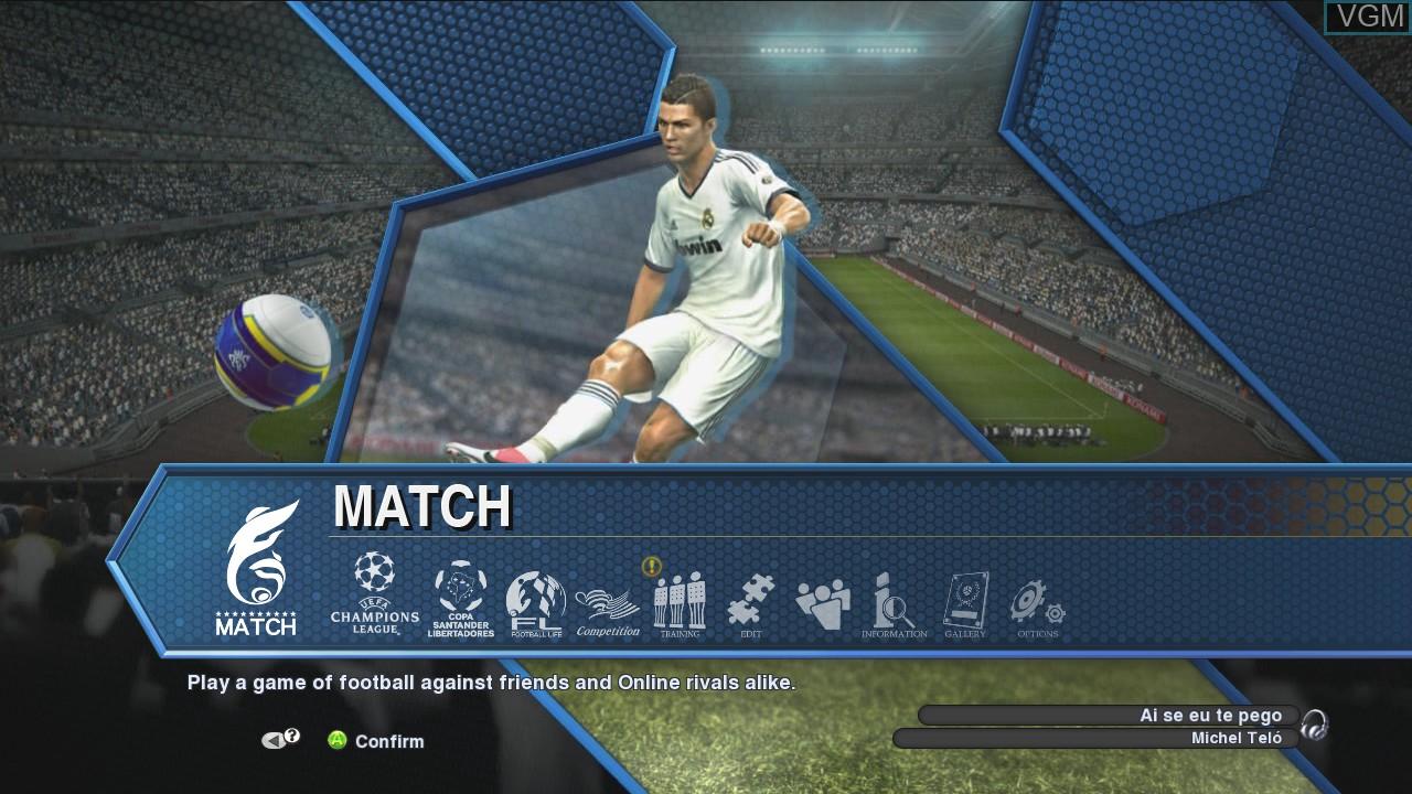 Image du menu du jeu Pro Evolution Soccer 2013 sur Microsoft Xbox 360