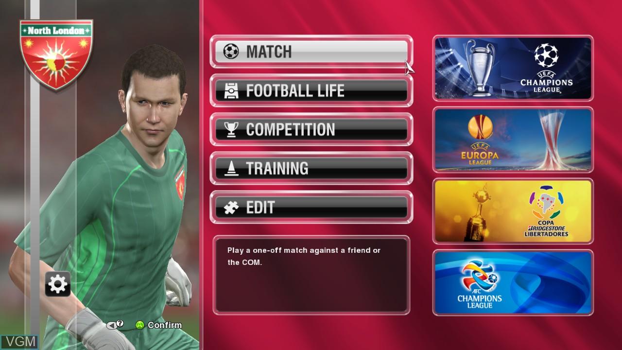 Image du menu du jeu Pro Evolution Soccer 2014 sur Microsoft Xbox 360