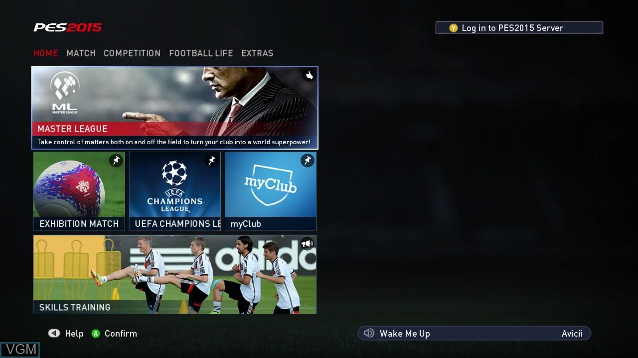 Image du menu du jeu Pro Evolution Soccer 2015 sur Microsoft Xbox 360