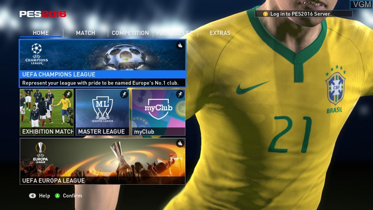 Image du menu du jeu Pro Evolution Soccer 2016 sur Microsoft Xbox 360