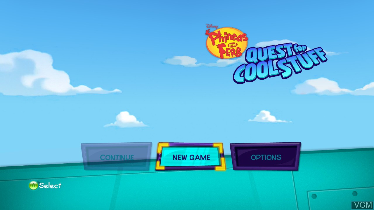 Image du menu du jeu Phineas and Ferb - Quest for Cool Stuff sur Microsoft Xbox 360