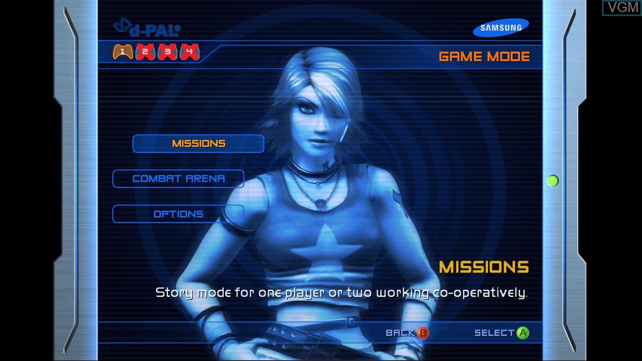 Image du menu du jeu Perfect Dark Zero sur Microsoft Xbox 360