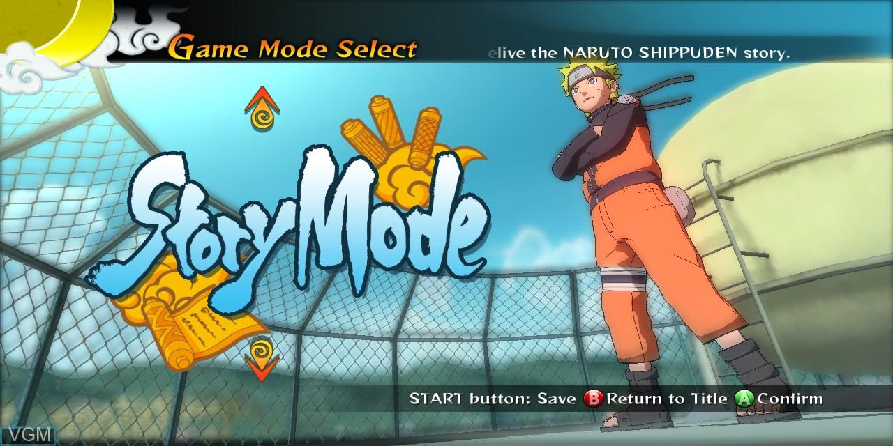 Image du menu du jeu Naruto Shippuden - Ultimate Ninja Storm Generations sur Microsoft Xbox 360