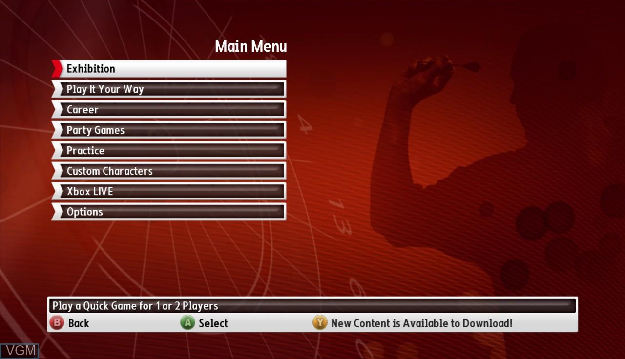 Image du menu du jeu PDC World Championship Darts - Pro Tour sur Microsoft Xbox 360