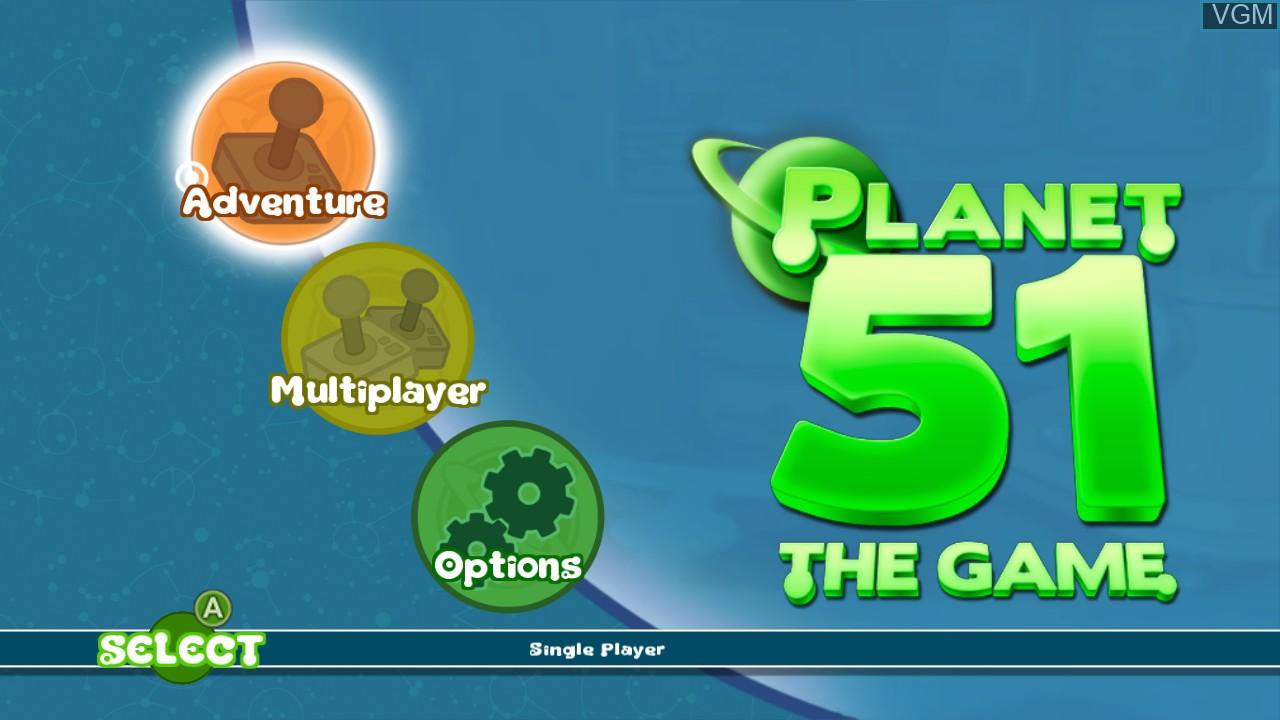 Image du menu du jeu Planet 51 sur Microsoft Xbox 360