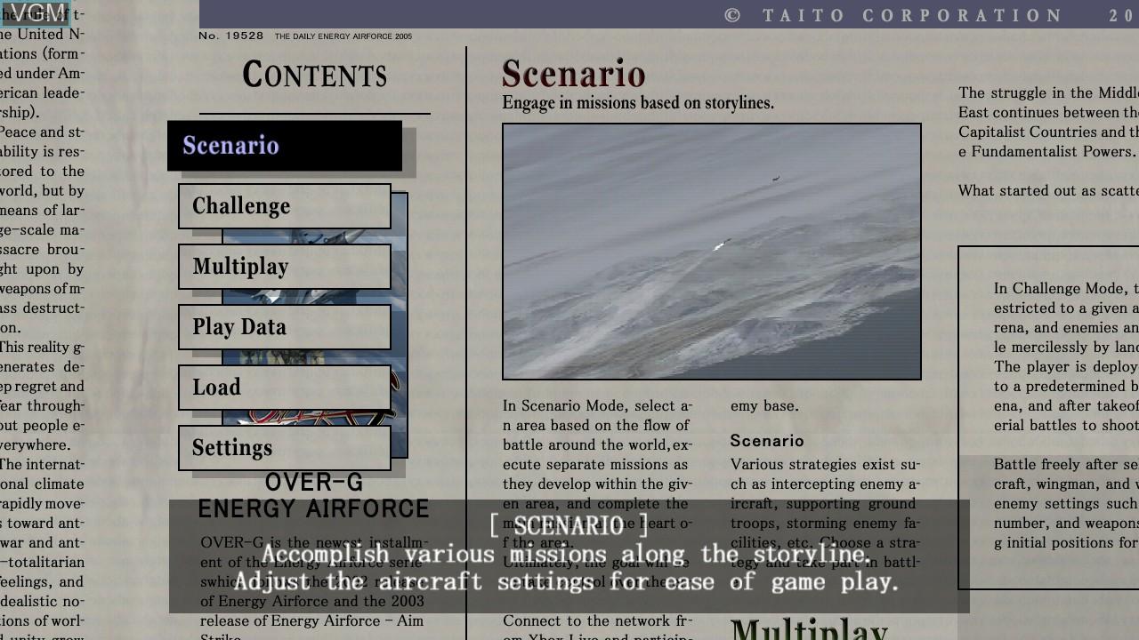 Image du menu du jeu Over G Fighters sur Microsoft Xbox 360