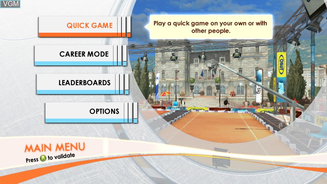 Image du menu du jeu Obut Petanque 2 sur Microsoft Xbox 360