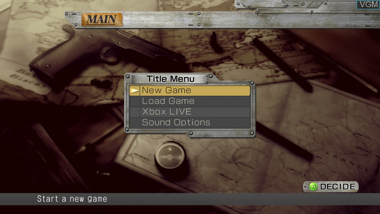 Image du menu du jeu Operation Darkness sur Microsoft Xbox 360