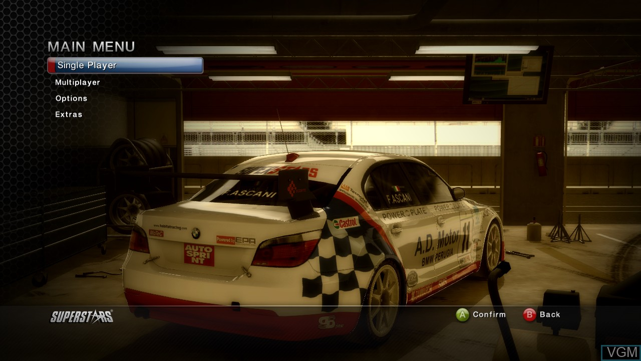 Image du menu du jeu Superstars V8 Racing sur Microsoft Xbox 360