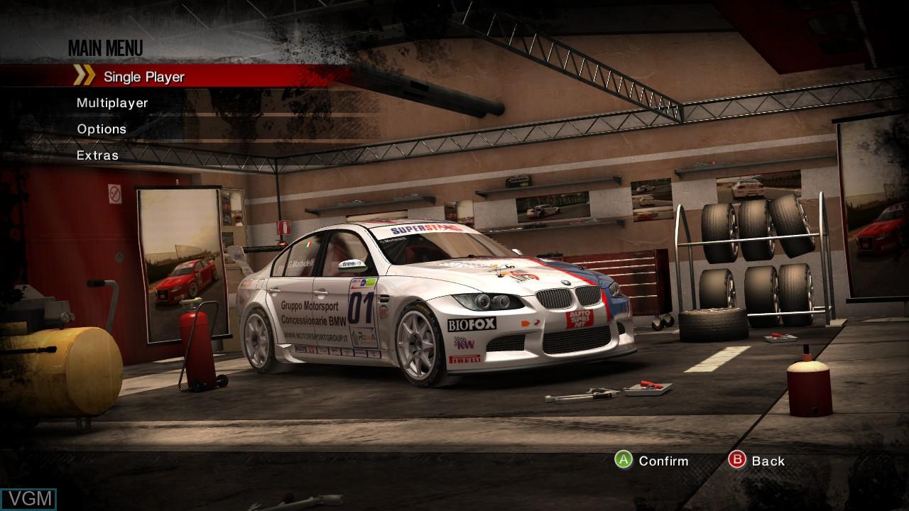 Image du menu du jeu Superstars V8 Next Challenge sur Microsoft Xbox 360