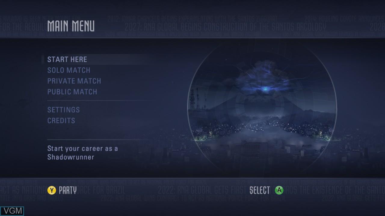 Image du menu du jeu Shadowrun sur Microsoft Xbox 360
