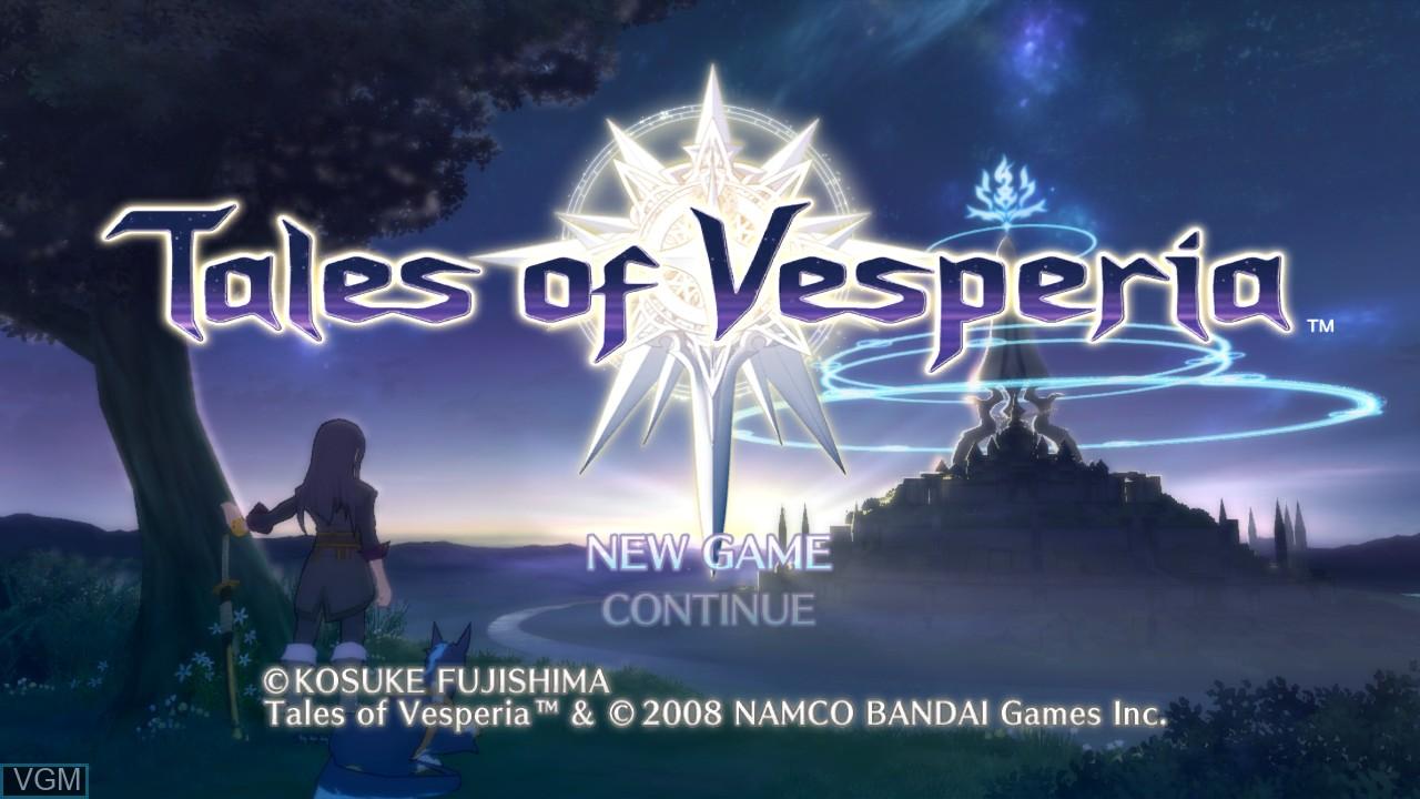 Image du menu du jeu Tales of Vesperia sur Microsoft Xbox 360
