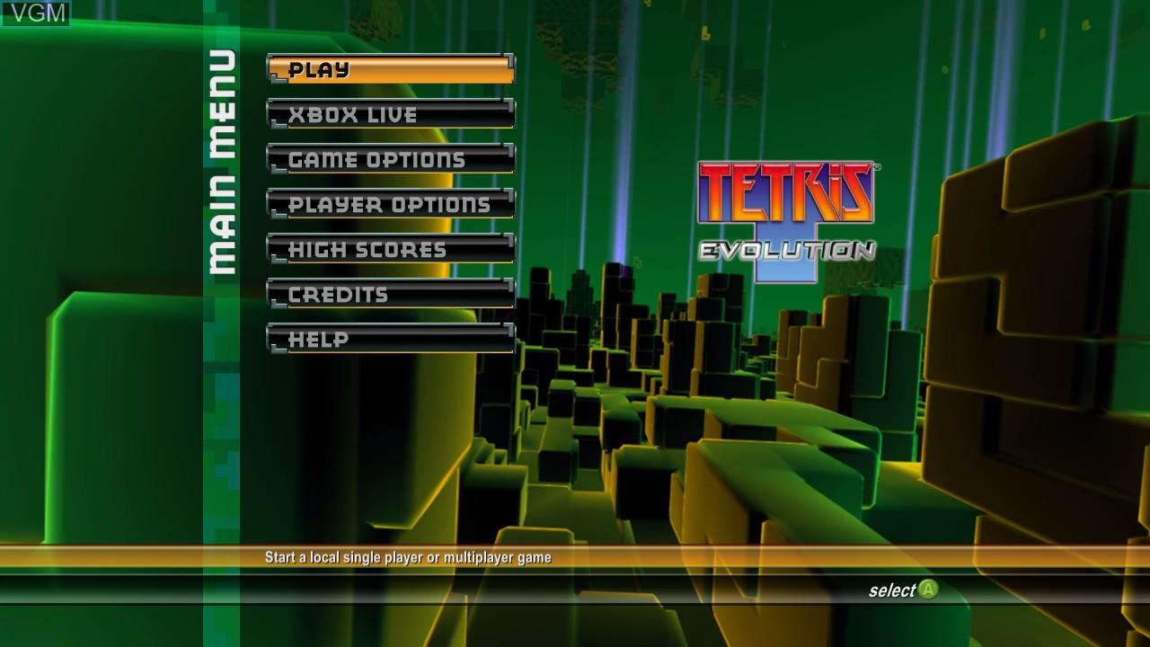 Image du menu du jeu Tetris Evolution sur Microsoft Xbox 360