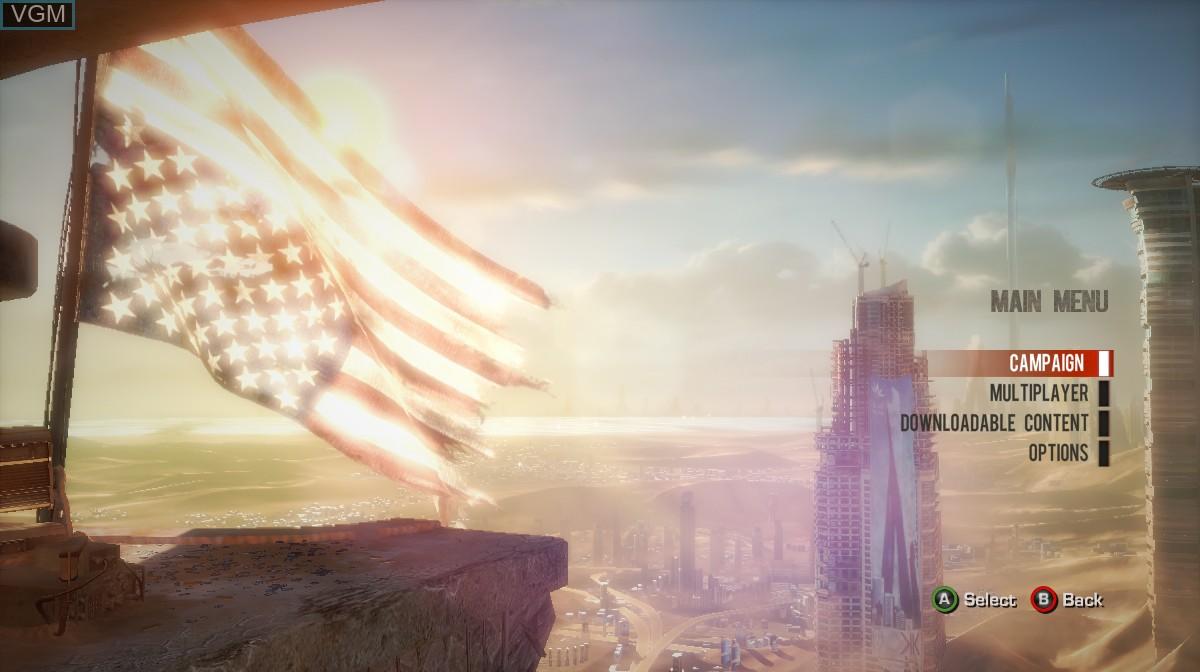 Image du menu du jeu Spec Ops - The Line sur Microsoft Xbox 360