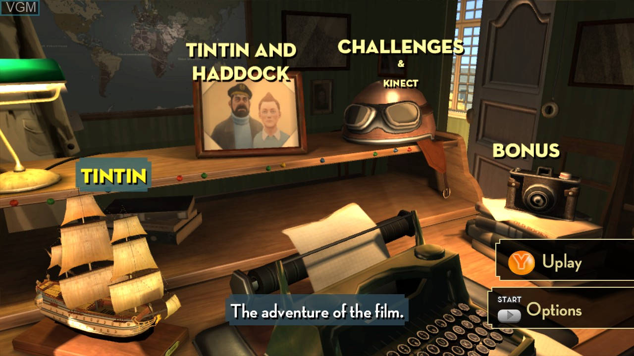 Image du menu du jeu Adventures of Tintin, The - The Secret of the Unicorn sur Microsoft Xbox 360