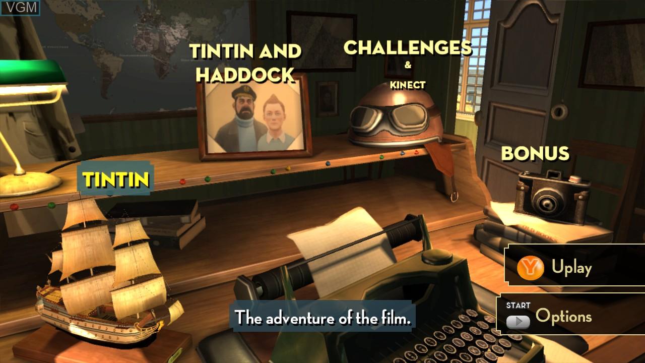 Image du menu du jeu Adventures of Tintin, The - The Secret of the Unicorn sur Microsoft Xbox 360
