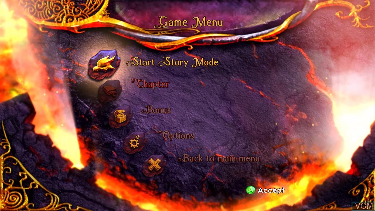 Image du menu du jeu Legend of Spyro, The - Dawn of the Dragon sur Microsoft Xbox 360