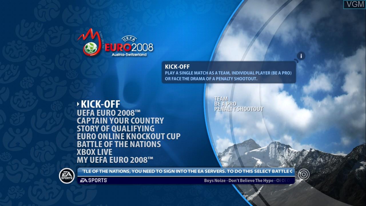 Image du menu du jeu UEFA EURO 2008 - Austria-Switzerland sur Microsoft Xbox 360