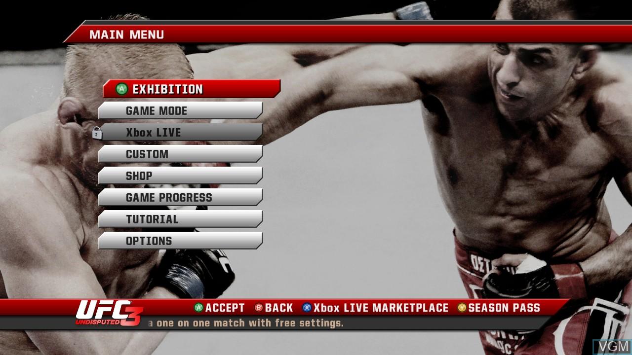 Image du menu du jeu UFC Undisputed 3 sur Microsoft Xbox 360