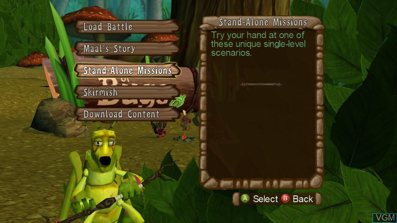 Image du menu du jeu Band of Bugs sur Microsoft Xbox 360