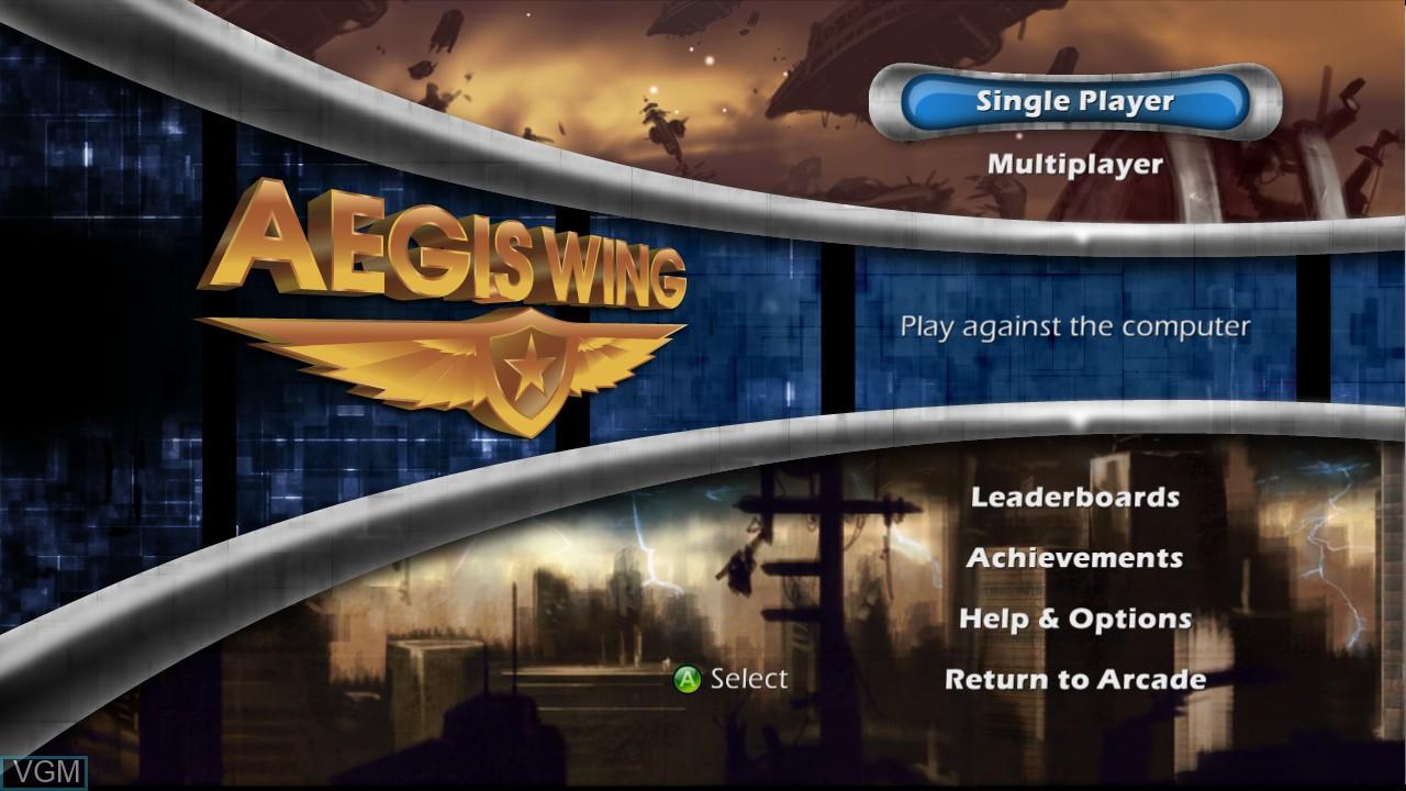 Image du menu du jeu Aegis Wing sur Microsoft Xbox 360