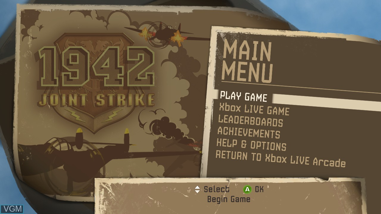 Image du menu du jeu 1942 - Joint Strike sur Microsoft Xbox 360