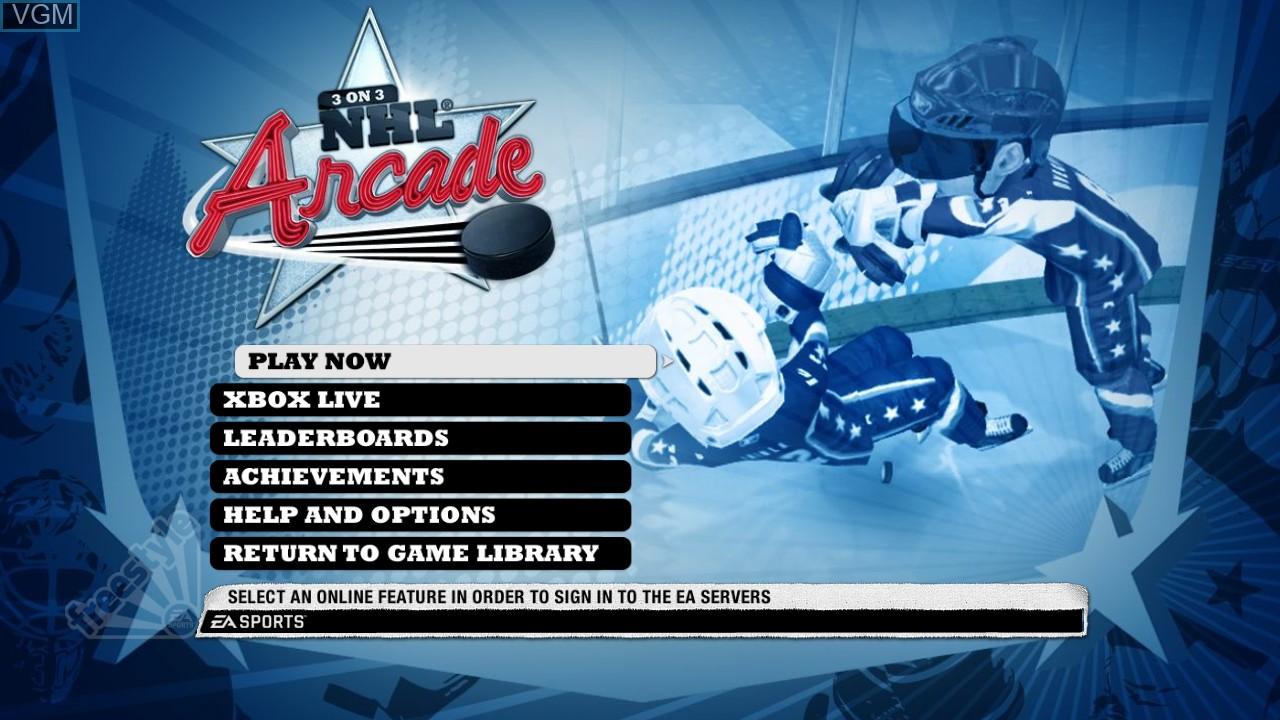 Image du menu du jeu 3 on 3 NHL Arcade sur Microsoft Xbox 360