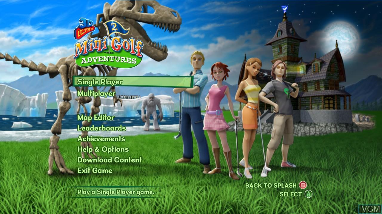 Image du menu du jeu 3D Ultra MiniGolf Adventures 2 sur Microsoft Xbox 360