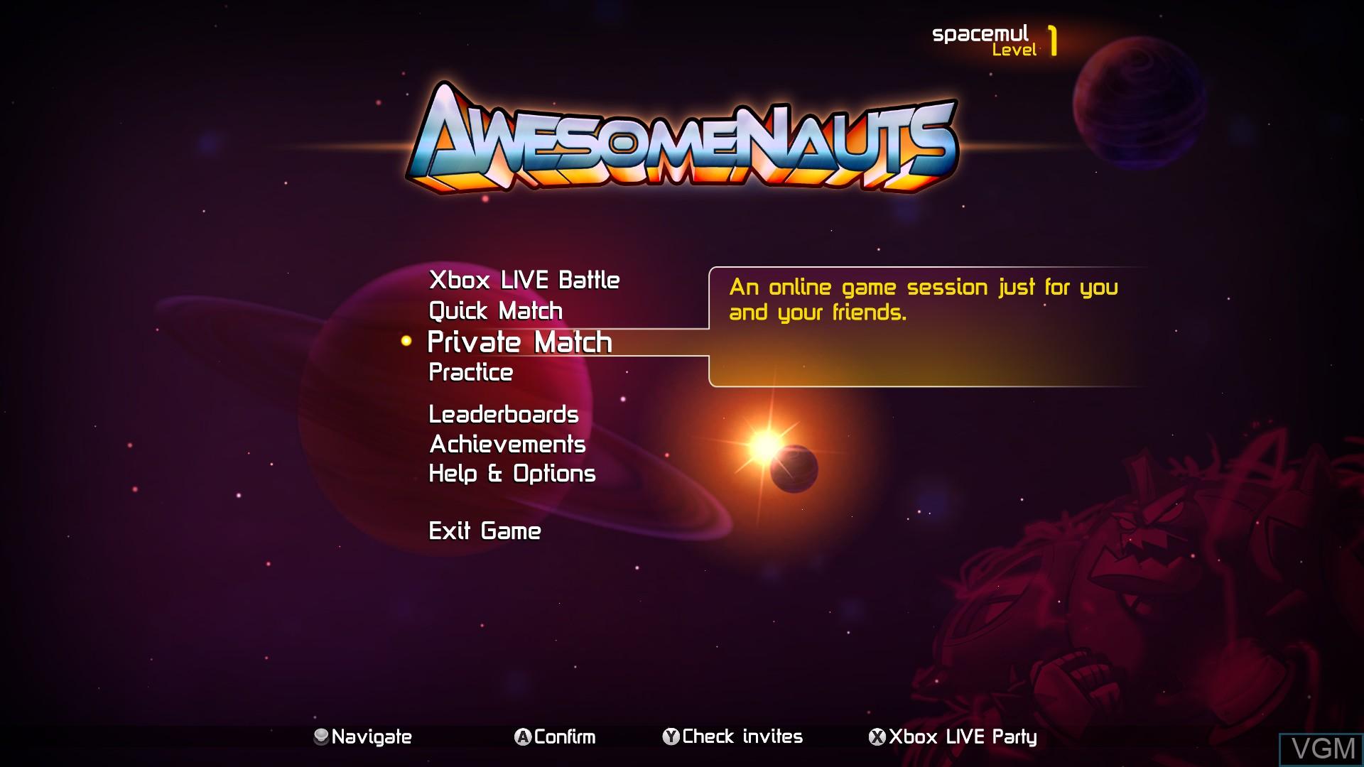 Image du menu du jeu Awesomenauts sur Microsoft Xbox 360