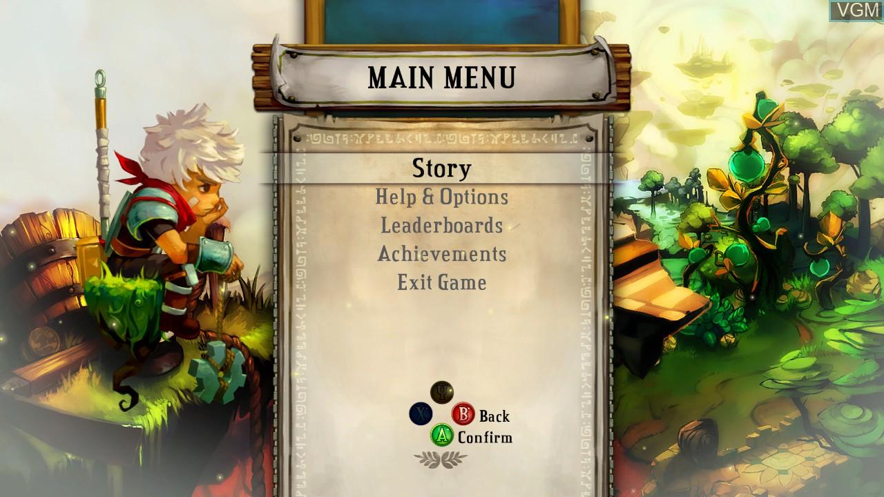 Image du menu du jeu Bastion sur Microsoft Xbox 360