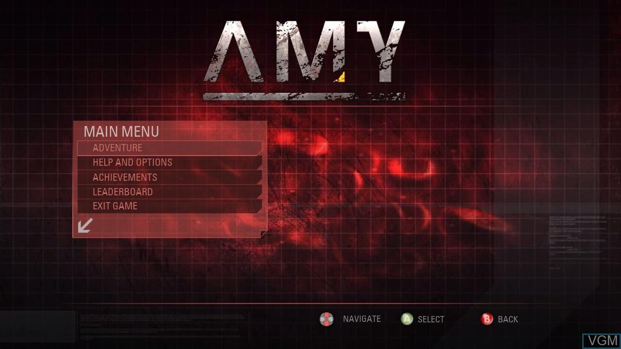 Image du menu du jeu AMY sur Microsoft Xbox 360